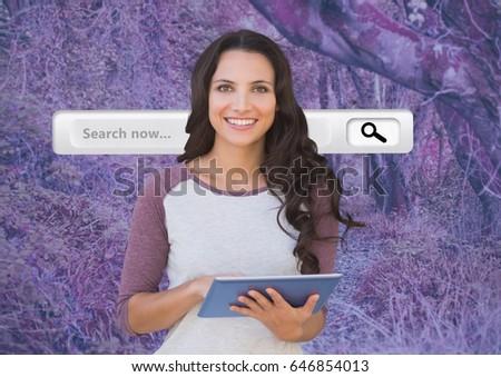 женщину таблетка розовый лес таинственный цифровой композитный Сток-фото © wavebreak_media