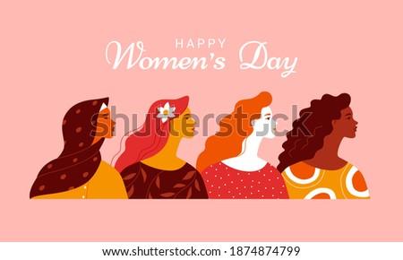 feliz · día · de · la · mujer · tarjeta · de · felicitación · plantilla · de · diseño · eps · 10 - foto stock © cienpies