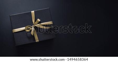 Luxus fekete ajándékdobozok kék szalag csillogás Stock fotó © Illia