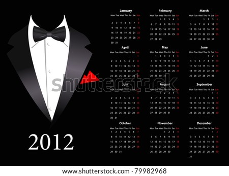 Vector European Calendar 2012 With Elegant Suit Photo stock © Elisanth