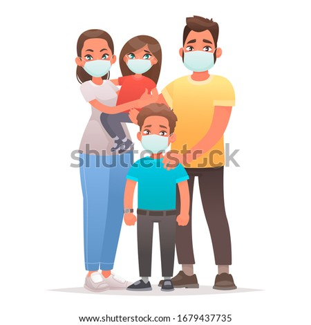 Mother and Son with masks on their faces Stock photo © leedsn