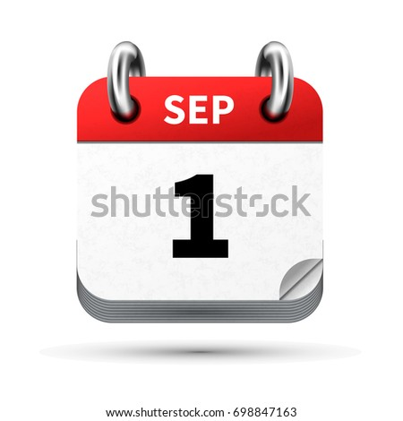 Bright realistic icon of calendar with 1st september date isolated on white Stock photo © evgeny89