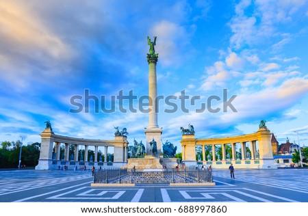 Boedapest Hongarije helden vierkante stad stedelijke Stockfoto © borisb17