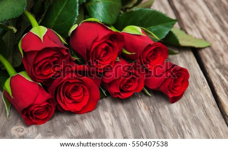 Bouquet Of Red Roses With Ribbon Stock fotó © almaje