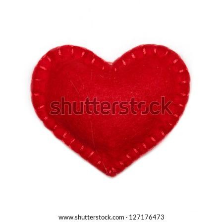 Small felt red heart Stock photo © luckyraccoon