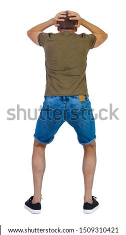 businessman grabs his head from back Stock photo © dolgachov