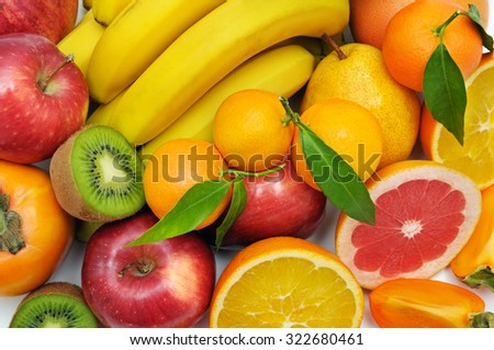 mandarin bananas and apples fresh food close up stock photo © fotoscool