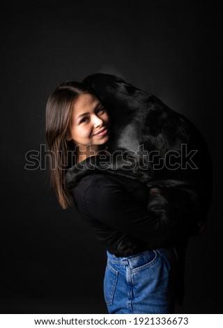 lovely retriewer portrait in a dark photo studio stock photo © vauvau