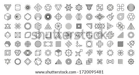 Doğrusal geometrik anlamaya simge soyut kart Stok fotoğraf © SArts