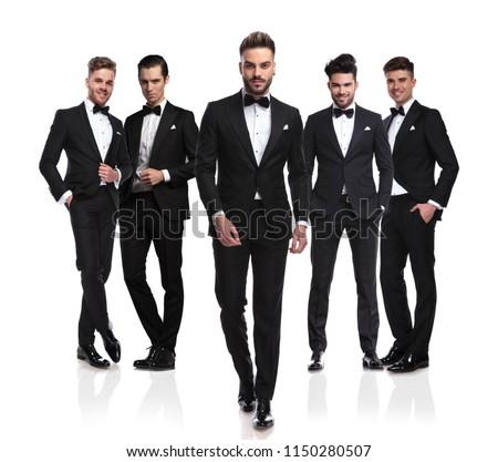 young elegant groom in tuxedo and bowtie  Stock photo © feedough