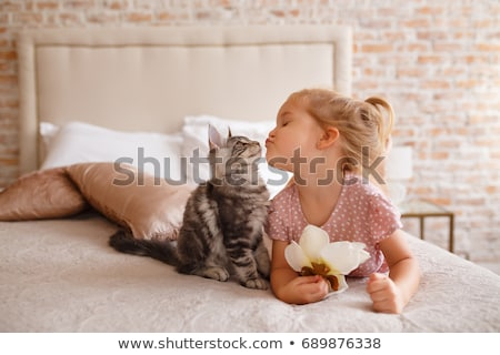 Girl and pets in bedroom Stock photo © bluering