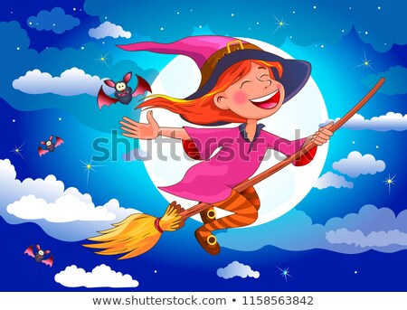 Joyful little witch flies on a broomstick Stock photo © liolle