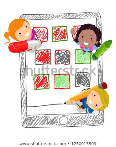 Stickman Kids Mobile Apps Drawing Illustration Stock photo © lenm