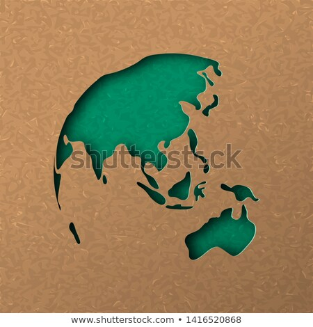 green papercut world map with australia and asia stock photo © cienpies