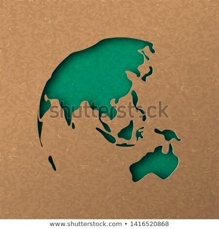 Zielone mapie świata Australia asia ilustracja Zdjęcia stock © cienpies