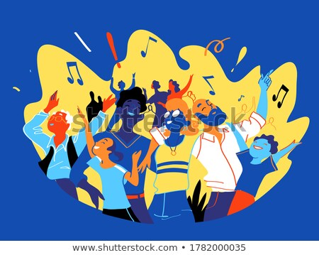 fun colorful friends in music party concept stock photo © cienpies