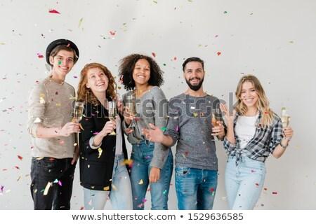 örömteli fiatal barátok különböző szórakozás fehér Stock fotó © pressmaster