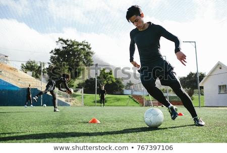 Fiatal labdarúgó képzés labda fű futball Stock fotó © matimix