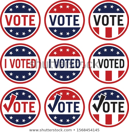 Votar político eleição logotipo conjunto vermelho Foto stock © jeff_hobrath