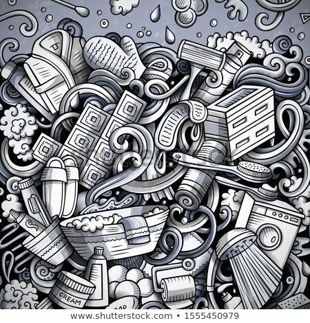 Bathroom hand drawn doodles illustration. Bath room frame card design. Stock photo © balabolka
