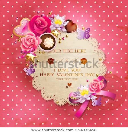 Születésnapi torta díszített íj retro vektor lány Stock fotó © pikepicture
