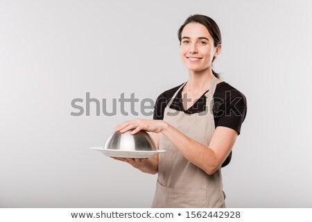 Mutlu genç esmer garson önlük el Stok fotoğraf © pressmaster