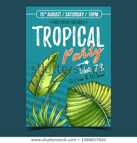 Licuala Grandis Exotic Bush Leaves Poster Vector Stock photo © pikepicture