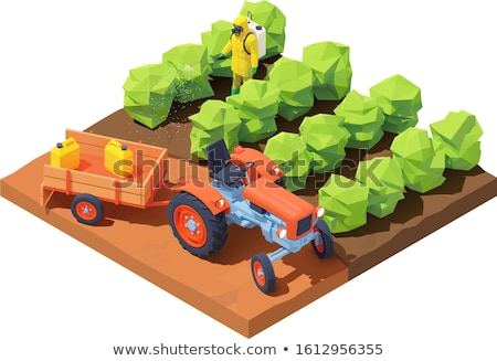 Vector isometric farmer spraying pesticides Stock photo © tele52
