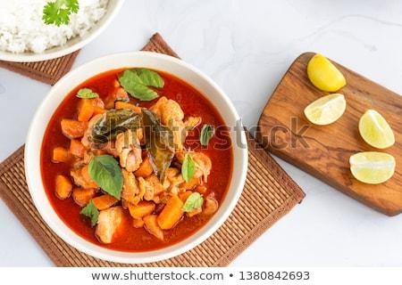 Tazón rojo pollo al curry primer plano alimentos pollo Foto stock © Alex9500