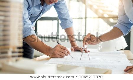 Közelkép kéz rajz terv biztonsági felszerelés asztal Stock fotó © AndreyPopov
