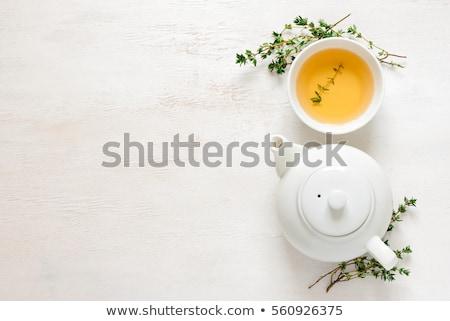 Természetes gyógyszer fa asztal homeopátia gyógynövény levél Stock fotó © JanPietruszka