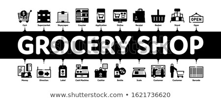 Lebensmittelgeschäft Laden Warenkorb minimal Banner Stock foto © pikepicture