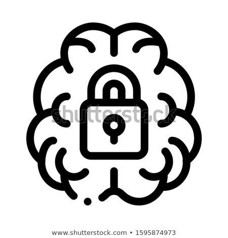 мозг заблокированный замок икона иллюстрация Сток-фото © pikepicture