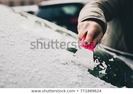 Congelada carro pára-brisas inverno vidro gelo Foto stock © tilo