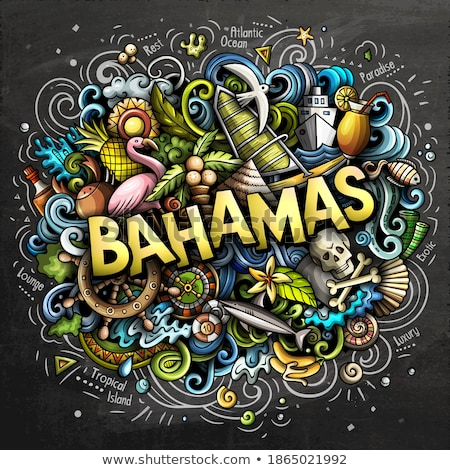 Bahamas hand drawn cartoon doodles illustration. Funny travel design. Stock photo © balabolka