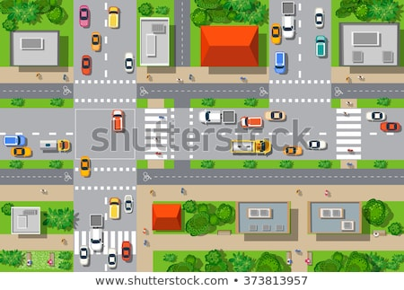 Car on Roads of City, Jeep and Minivan in Town Stock photo © robuart