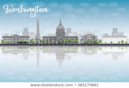 Washington DC city skyline with Gray Landmarks and Copy Space. Stock photo © ShustrikS