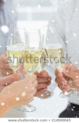 pezsgő · fuvolák · hó · fotó · kettő · üveg - stock fotó © pressmaster