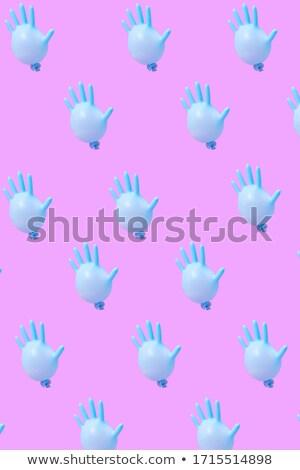 Minta kék latex kesztyű léggömbök forró Stock fotó © artjazz