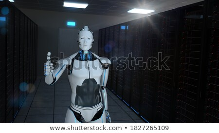 Humanoïde robot ok 3d illustration internet Photo stock © limbi007