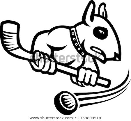 Bull Terrier With Ice Hockey Stick Mascot Black and White Stock photo © patrimonio