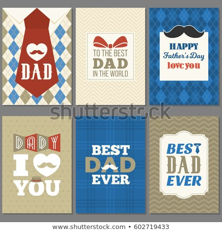 Happy Father's Day Greeting Card Design with Dotted Bow Tie, Mustache and Red Heart on Blue Backgrou Stock photo © articular