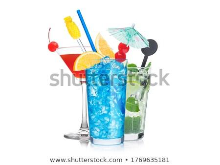 Niebieski kosmopolityczny mojito koktajle okulary słomy Zdjęcia stock © DenisMArt