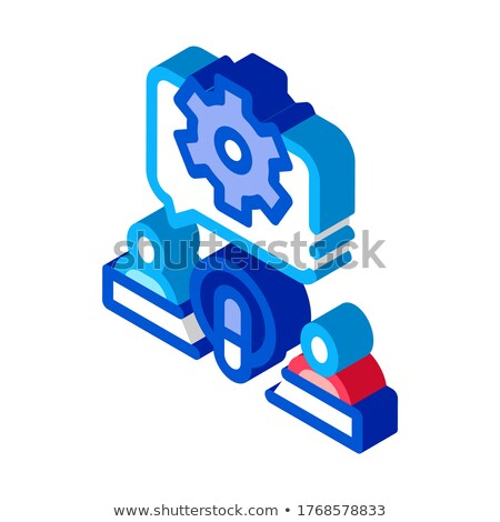 Hosts Microphone Gear isometric icon vector illustration Stock photo © pikepicture