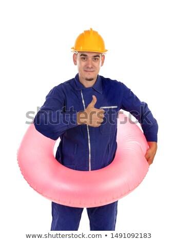 Amarelo capacete rosa jangada isolado Foto stock © Gelpi