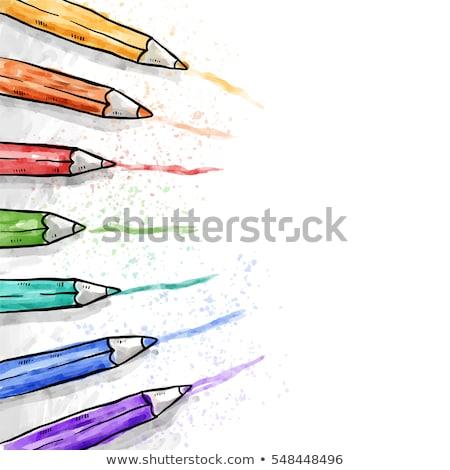 Foto stock: Lápis · de · cor · caderno · vetor · spiralis · livro