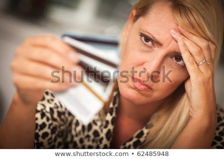 üzgün · kadın · çok · kredi · kartları · para · tablo - stok fotoğraf © dacasdo