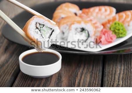 Maki sushi soya sosu hizmet Stok fotoğraf © aladin66