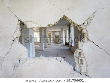 window in destroyed brick house stock photo © basel101658