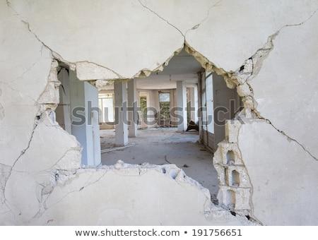 окна разрушенный кирпичных дома стены краской Сток-фото © basel101658
